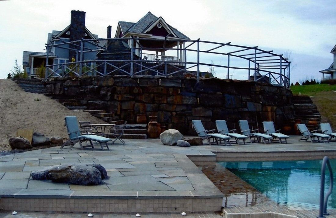 Natural stone pool and pool deck